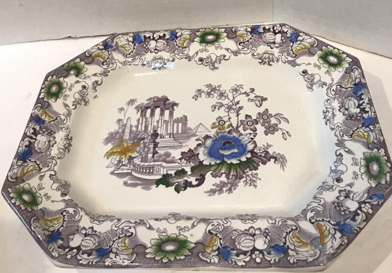 19C Polychrome Francis Morely Staffordshire Transferware Platter Cleopatra