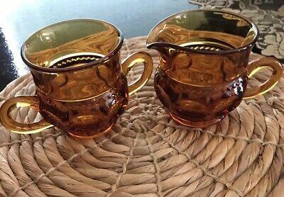 Kings Crown Thumb Print Amber Open Sugar Bowl and Creamer Indiana Glass  - Amber Kings Crown