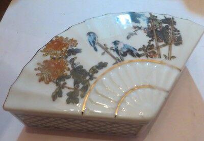 Boite à bijoux en forme de quart de tarte avec oiseaux et liseré or