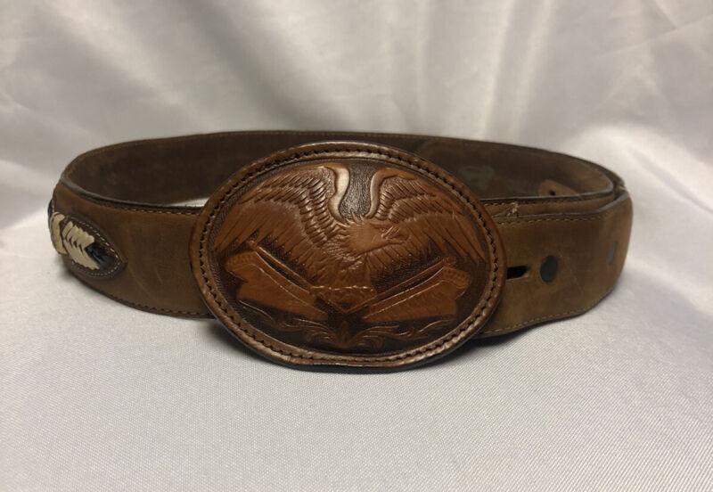 Vtg Eagle 34 Justin Belt Buckle Brown Leather Western Rockabilly Trucker Cowboy