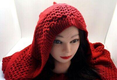 Winter Wine Dark RED Burgundy Knitted HOODED SCARF  Hat AC22/22