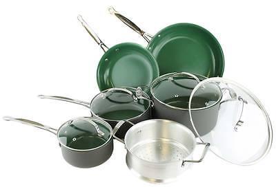 Telebrands Orgreenic 10-Piece Anodized Non Stick Kitchen Cookware Set, Green