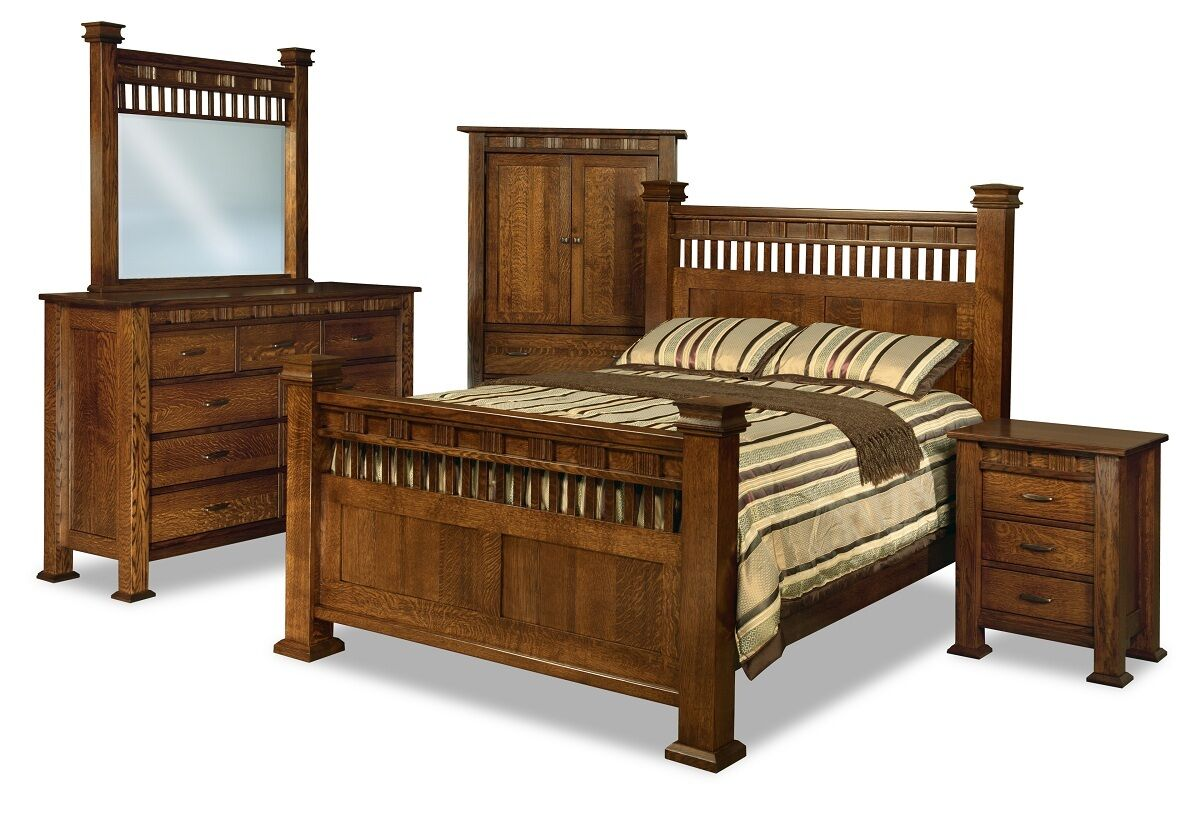 Amish Luxury Mission Bed Set Solid Wood Post Bedroom