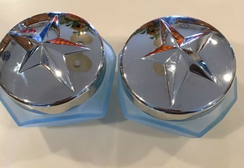 Thierry Mugler Angel Creme Celeste Blue Glass Jars Silver Lids Empty