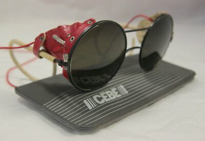 Vintage Round Cebe Sunglasses 1980s Look Red Side Visors Coil Arm Glacier (Cebe Sunglasses Price)