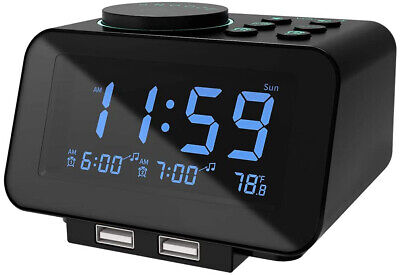 Digital Alarm Clock Radio - 0-100% Dimmer, Dual Alarm With Weekday/Weeken Mode