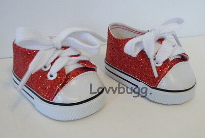 Red Ruby Sparkle Glitter Sneakers for American Girl 18 inch Doll Shoes Dorothy