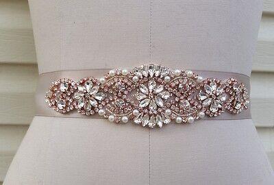 "Wedding Dress Sash Belt -  Rose Gold Crystal Pearl Sash Belt = 7 1/4"" long"