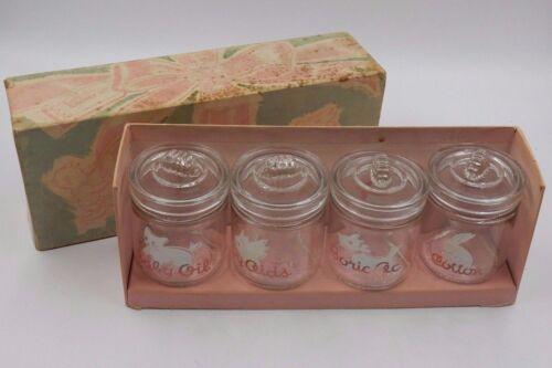 SET OF 4 BabyAll VINTAGE GLASS BABY NURSERY JARS with LIDS