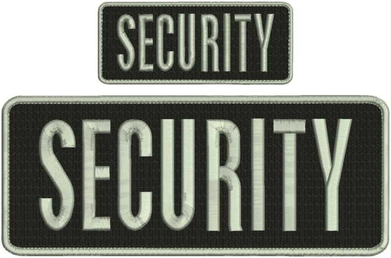 security embroidery Patches 4x10 and 2x5 hook ON BACK silver Letters