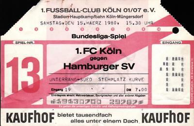 Ticket BL 79/80 1. FC Köln - Hamburger SV, 15.03.1980