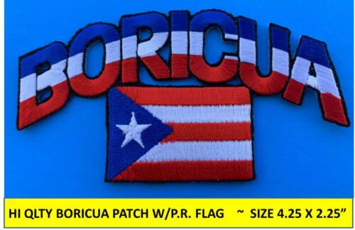 BORICUA PUERTO RICO FLAG EMBROIDERED PATCH IRON-ON SEW-ON (4.25 x 2.25) -HI QLTY