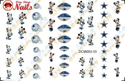 55pcs Dallas Cowboys Mickey Nail Art Decals Stickers Transfers. DCM003-55