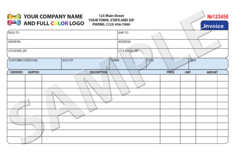 100 Color Custom Invoice / Sales Receipt / Carbonless Form
