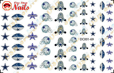 69pcs Dallas Cowboys waterslide nail art decals transfers. NFL DC001-69](Dallas Cowboys Nail Stickers)