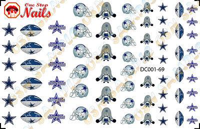 69pcs Dallas Cowboys Nail Art Decals Stickers Transfers. NFL DC001-69