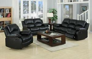 NEW VALENCIA 3+2+1 SEATER BONDED LEATHER RECLINER SOFA SUITE, BLACK OR BROWN