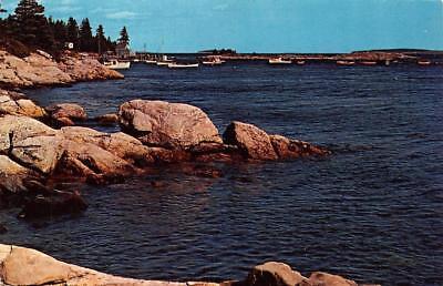 Me  Maine  Cape Newagen Point   Harbor  Southport Island  Boats  Chrome Postcard