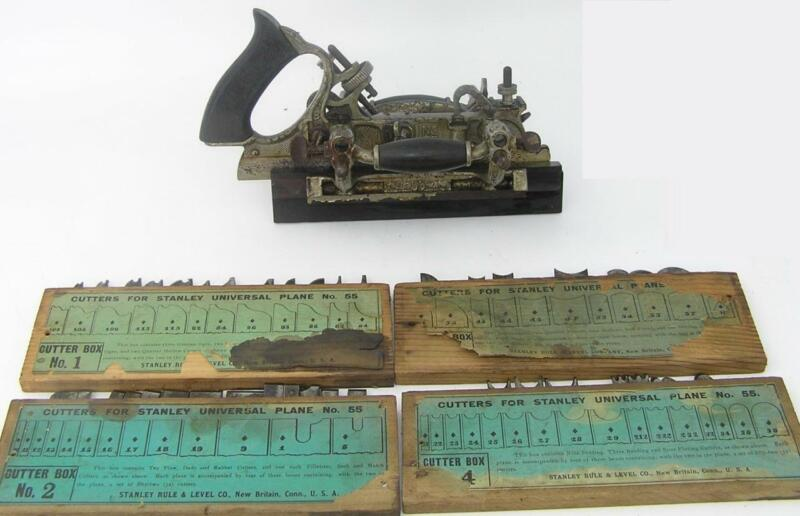 EARLY STANLEY #55 COMBINATION PLANE WITH 4 BOXES OF CUTTERS NUMBERS 1-4