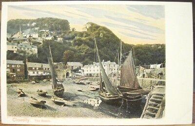Vintage Postcard CLOVELLY Beach Sailboats Devon England UK Peacock Autochrom