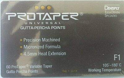 Protaper Universal F1 Gutta Percha Points Dentsply Tulsa Box Of 60 Dental Endo