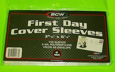 100 FIRST DAY COVER POLY SLEEVES, FOR #6-3/4 COVERS, CRYSTAL CLEAR - BCW BRAND