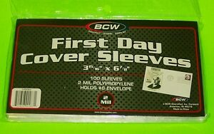 100-FIRST-DAY-COVER-POLY-SLEEVES-FOR-6-3-4-COVERS-CRYSTAL-CLEAR-BCW-BRAND