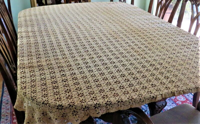 "VINTAGE HAND CROCHETED TABLECLOTH COVERLET 68"" x 86"" ECRU RECTANGULAR EX-CONDIT"