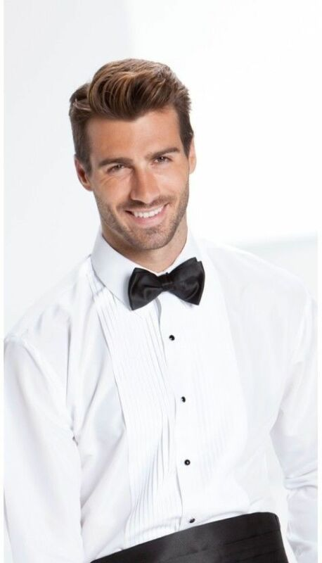 NEW Mens White Laydown Spread Collar Pleated Tuxedo Shirt Prom ALL SIZES TUXXMAM