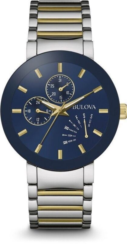 Bulova 98C123 Two Tone Stainless Steel Blue Dial Day Date Men