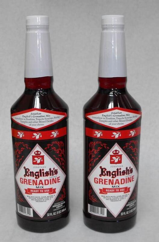 (2x) 32 oz Jonathan English GRENADINE SYRUP Cocktail Mixer  FREE SHIP