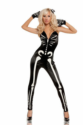 Glow in the Dark Skeleton Jumpsuit Costume Gloves Halloween Women Medium 10-12