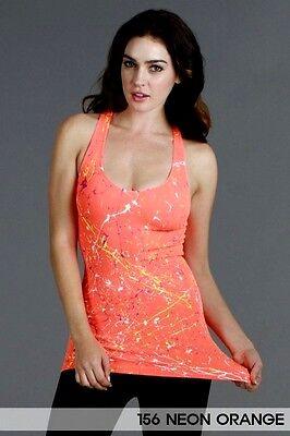 Paint Splatter Tank Top In Neon Orange One Size Fits Most ()