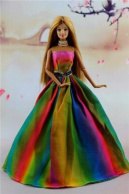 Multi Color Fashion Princess Party Dress Wedding Clothes/Gown For Barbie Doll