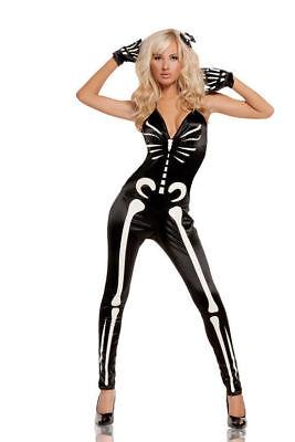 Glow in the Dark Skeleton Jumpsuit Costume Gloves Halloween Women New Small 2-6 - Glow In The Dark Skeleton Costumes