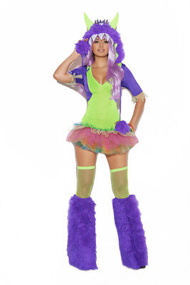 SEXY MONSTER COSTUME TUTU DRESS & FURRY HOOD W/ONE EYE ADULT WOMAN