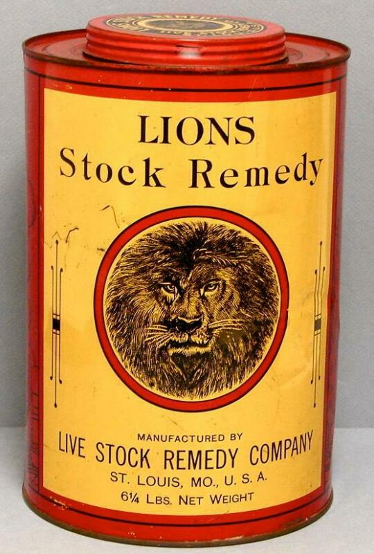 LIONS LIVE STOCK REMEDY VINTAGE LITHO 6 1/4 LBS CANISTER TIN FARM ANIMALS