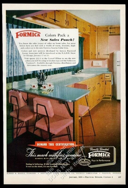 1954 Formica blue kitchen counter top color photo vintage trade print ad