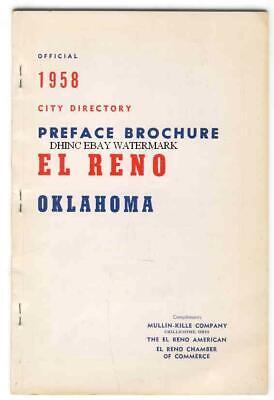 Official 1958 El Reno Oklahoma City Directory Preface Brochure