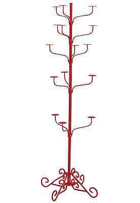 Hat Display Rack Boutique 5-tier Millinery Floor Stand Custom Berry Red
