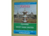 1975 FA Cup Final Fulham vs West Ham programme in near mint condition,
