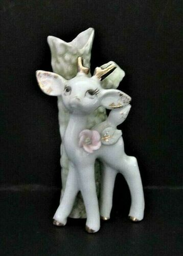 Porcelain Bud Vase Stag Deer Fawn Tree pink rose gold accents Japan