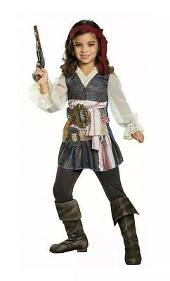Disney Captain Jack Sparrow Pirates Caribbean Girls Child Costume Sz S Small 4-6