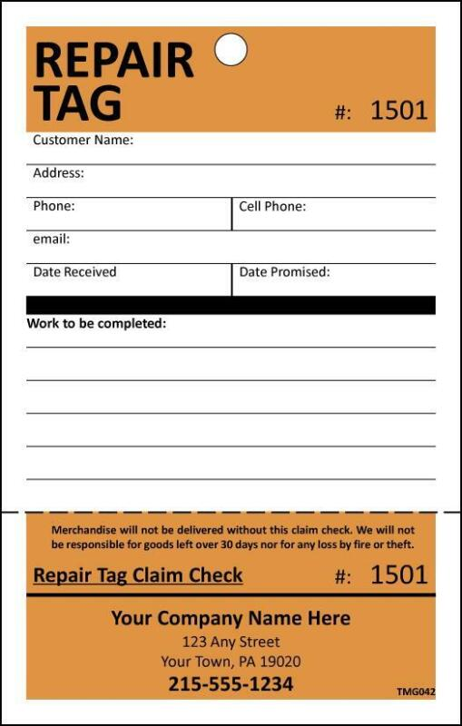 50 Repair Tags, Service Department Tags with Detachable Claim Check TMG042