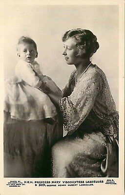 Real Photo Postcard H.R.H Princess Mary Viscountess Lascelles & Son