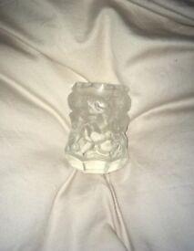 Vintage Desna Czech Glass vase Curt Schlevogt cherubs satin glass
