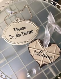 Pair Of Shabby Chic Vintage Style Signs