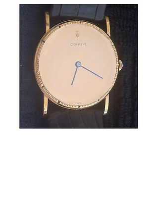 """Vintage 18K Gold CORUM Watch, Coin Mirror Dial, """"Corum"""" on Face, Classic Style"""