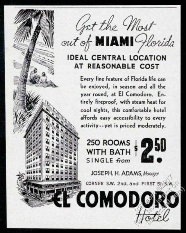 1937 El Comodoro Hotel Miami Florida illustrated vintage print ad
