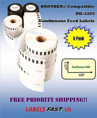 6 Rolls Brother Dk-2205 White Continuous Label Ql 500 550 570 580n 650td Printer